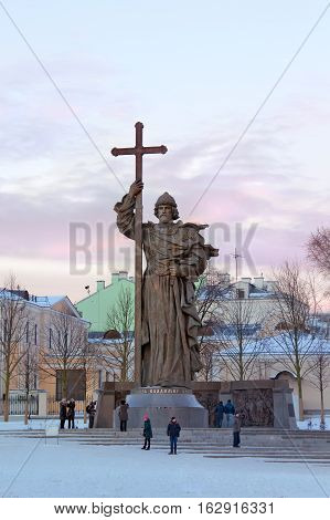 Moscow Russia - December 20, 2016: Monument to Holy Prince Vladimir the Great on Borovitskaya Square near the Kremlin. People visit the monument.