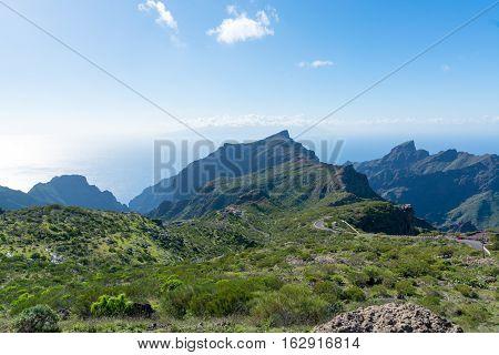 Nature near Masca Village Tenerife - mountains and Atlantic ocean