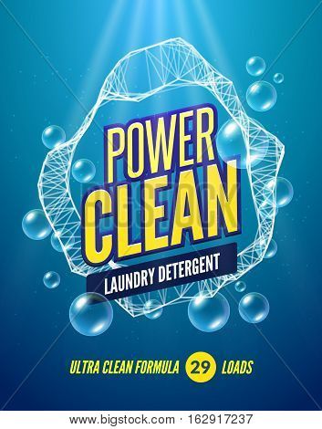 Laundry Detergent packaging vector template design. Detergent powdery design, cleaner label, underwater clean detergent fresh concept.