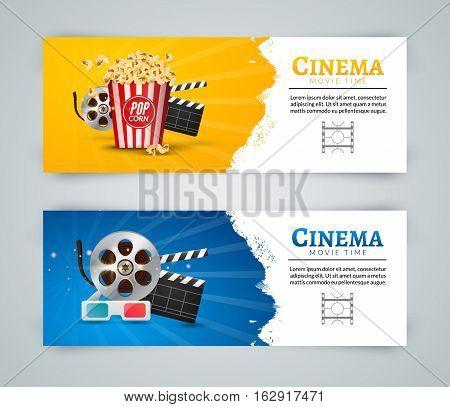 Cinema movie banner poster design template. Film clapper, 3D glasses, popcorn. Cinema banner layout.