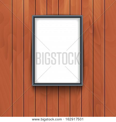 Vector frame on wooden wall background. Photo art decorative empty frame exhibition.