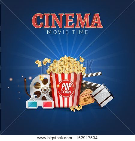 Cinema movie vector poster design template. Popcorn, filmstrip and clapboard, tickets. Movie time background banner.