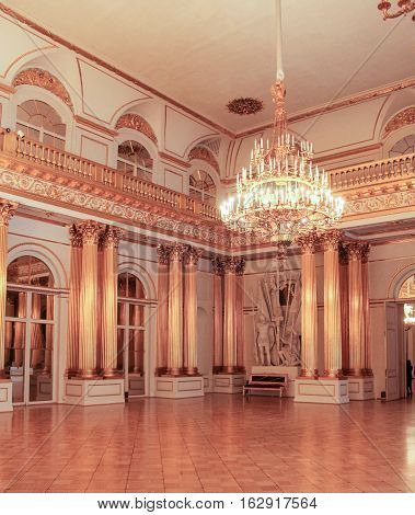 St. Petersburg, Russia - 1 December, Stamp Hermitage Hall, 1 December, 2016. Visiting of exhibitions and expositions State Hermitage.