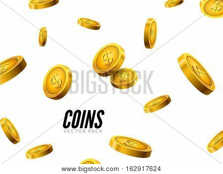 Vector gold coins falling. Coin icons realistic design with shadow. Cash treasure success concept.