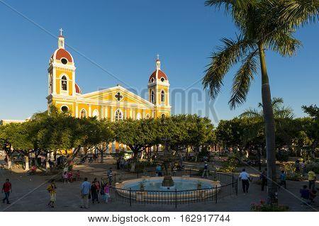 Granada Nicaragua - April 2 2014: View of the Granada Cathedral and the city's main square in Granada Nicaragua