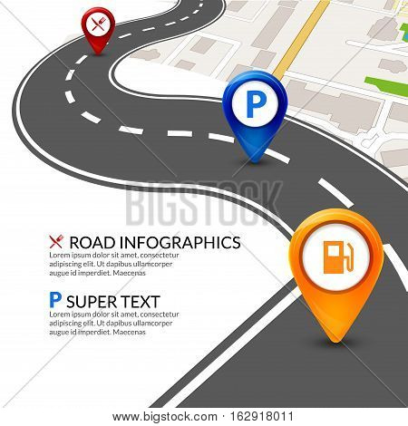 Road map city infographic with colorful pins pointer. Road street navigation perspective map template.