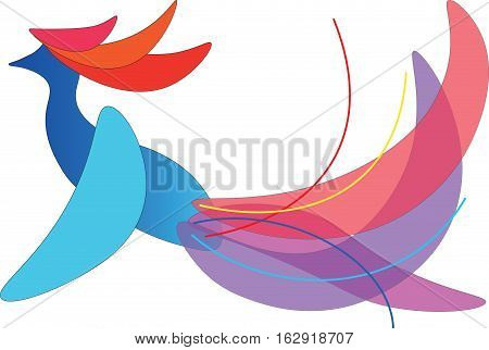 Abstract multi-colored bird on a white background.