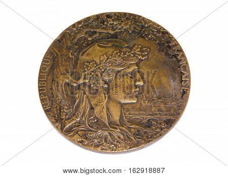 Paris 1900 Olympic Games Participation Medal Obverse Kouvola Finland 06.09.2016.