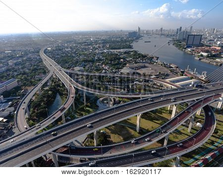 Aerial View Of Bangkok Busy Highway