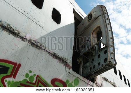 Airplane Wreckage White Passenger Door