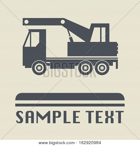 Truck crane icon or sign vector illustration