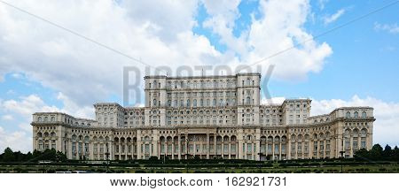 Palace of the Parliament in Bucharest Romania from the front