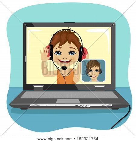 Little boy chatting with his mother via the internet. Video call and chat concept. Modern communication technology.
