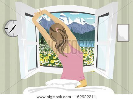 Young woman stretching in bed after wake up, back view on summer mountain scenery
