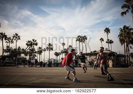 Los Angeles, USA - October 22: Public basketball games at Venice Beach Recreation Center in Los Angeles, California, USA