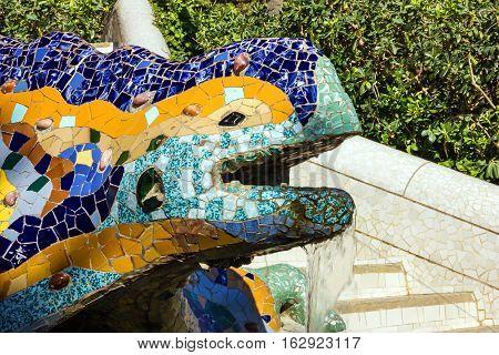 Barcelona, Spain - May 8, 2016: Lizard mosaic sculpture in Park Guell