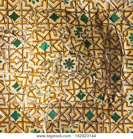 Broken glass mosaic tile decoration in Barcelona, Spain.
