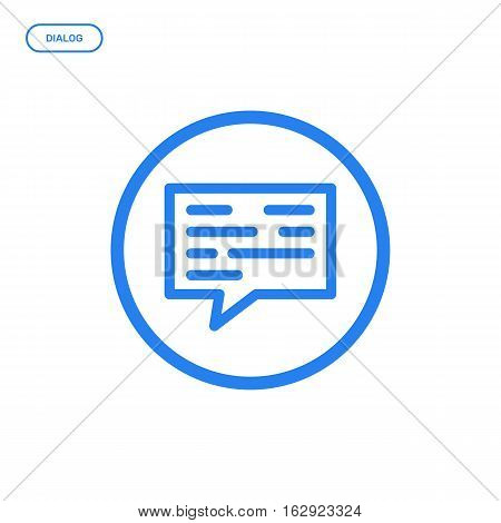 Vector illustration of flat line icon. Graphic design concept of dialog. Use in Web Project and Applications. Blue outline isolated object.