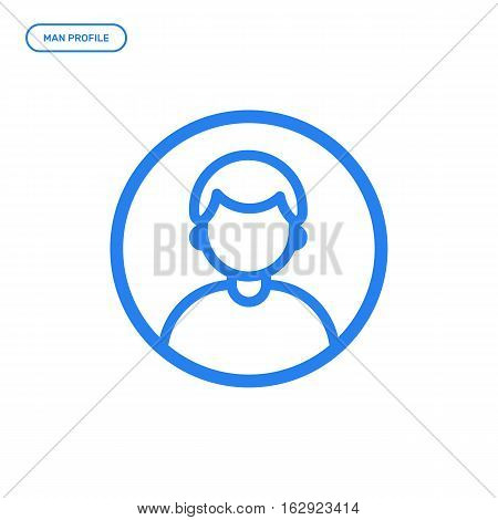 Vector illustration of flat line male icon. Graphic design concept of man profile. Use in Web Project and Applications. Blue outline isolated object.