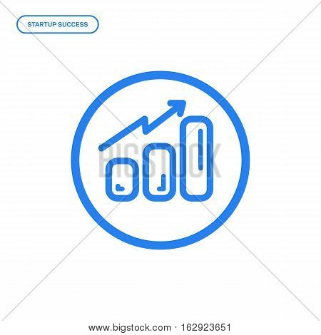 Vector illustration of flat line chart icon. Graphic design concept of startup success. Use in Web Project and Applications. Blue outline isolated object.