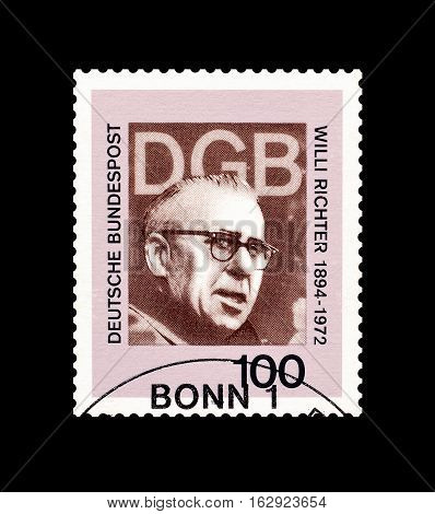GERMANY - CIRCA 1993 : Cancelled postage stamp printed by Germany, that shows Willi Richter.