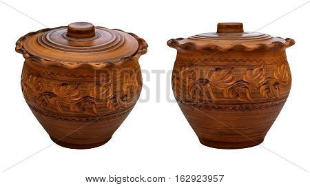 Traditional pottery. Painted crock. Isolated, white background.