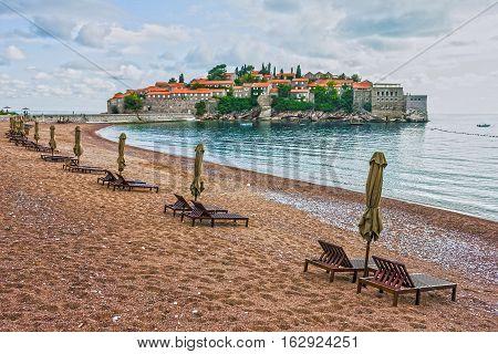 Summer resort landscape Island of Saint Stephen, Budva, Adriatic sea, Montenegro poster