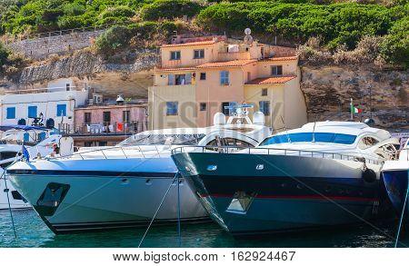 Luxury Pleasure Yachts In Marina Of Bonifacio