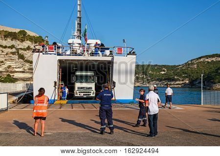 Truck Leaves Out The Ferry In Port Of Bonifacio
