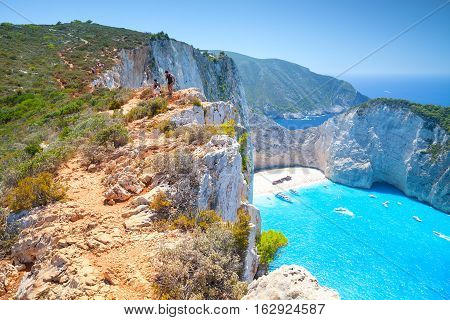 Zakynthos, Greece - August 20, 2016: Navagio bay, Ship Wreck beach. The most famous natural landmark of Zakynthos, Greek island in the Ionian Sea