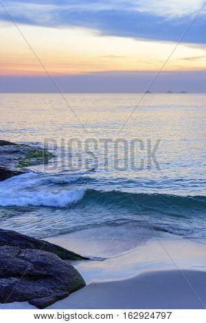 View of the beautiful sunset in Arpoador beach Rio de Janeiro
