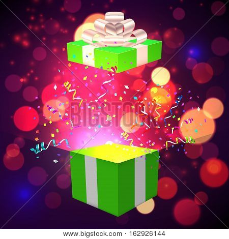 Open Xmas box with confetti on bokeh background. Vector illustration