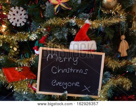 merry christmas everyone on a blackboard christmas sign