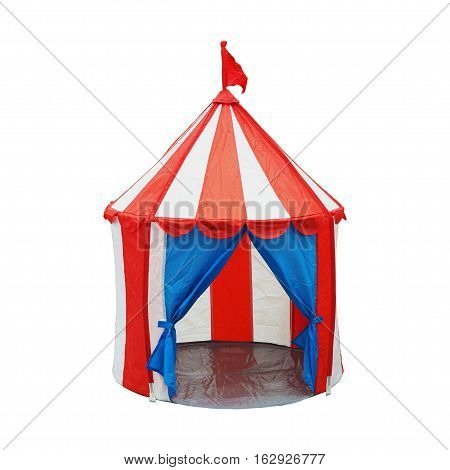 Colorful opened children circus tent with flag on top isolated on white background with clipping path