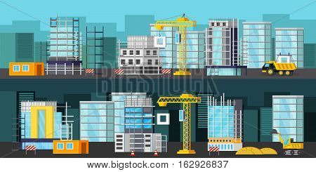 Horizontal orthogonal banners with building equipment on construction site at day and at night isolated vector illustration