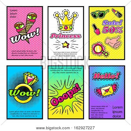 Set of comic style posters for girls with crown icecream ring and makeup sale isolated vector illustration