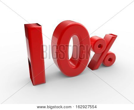 words 10 percent discount isolated on white. 3d render