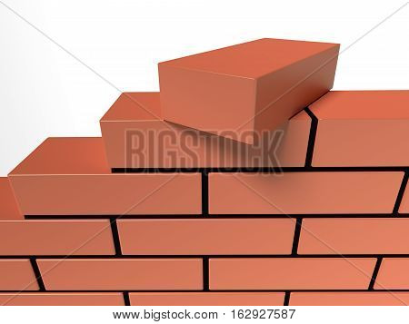 Illustration of brick wall. Concept of building and construction. 3d rendering