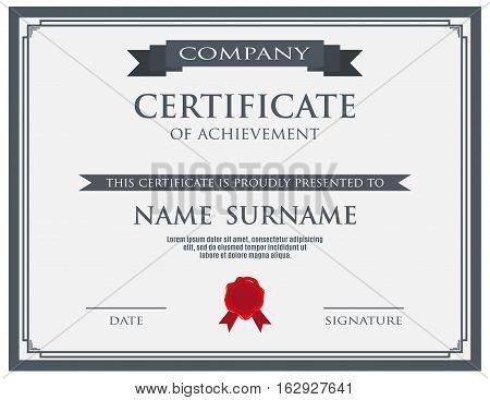 Certificate with wax seal template. vector illustration