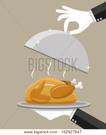 Waiter hand with silver cloche serving Roasted chicken on plate. vector illustration in flat style