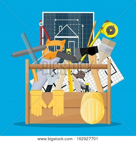 Carpentry instruments in wooden toolbox. vector illustration in flat style