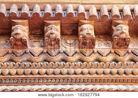 PATAN, NEPAL: Detail of the architecture inside Mul Chowk Royal Palace, Durbar Square