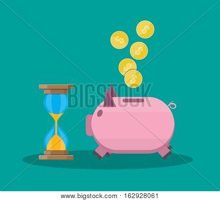 Time is money, old style hourglass clock and piggy bank. vector illustration in flat style