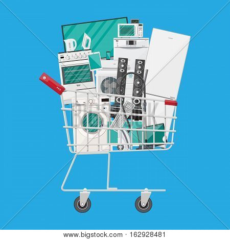 Household devices in shopping cart. electronics stores sale. vector illustration in flat style