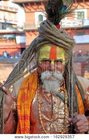 PATAN, NEPAL - DECEMBER 21, 2014: Portrait of a Sadhu (Holy man) at Durbar Square