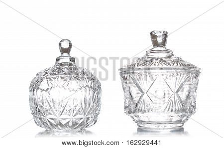 Set For The Kitchen On A White Background, Glassware Retro Old. Crystal Transparent Utensils. Fruit