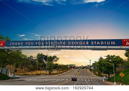 LOS ANGELES CALIFORNIA - OCTOBER 28 2016: Dodgers Stadium banner at sunset