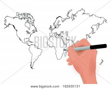 Illustration of a world map marker sketch on a white background