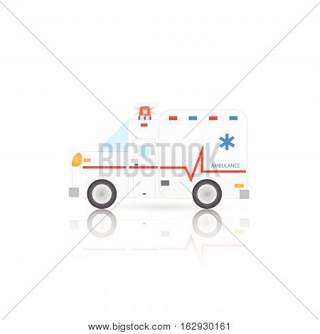 Illustration of an ambulance isolated on a white background.