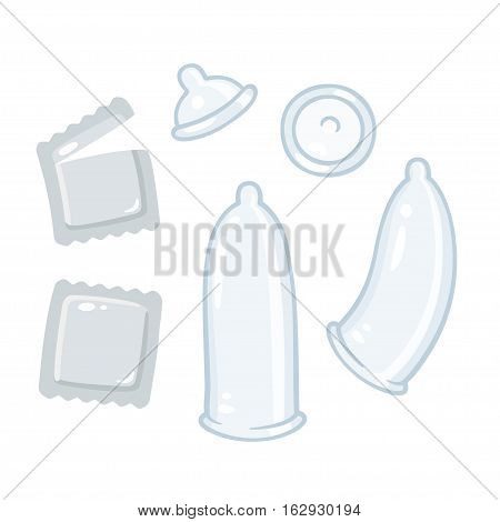 Condom cartoon drawings set. Safe sex and contraception illustration.